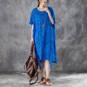 Loose Round Neck Short Sleeve Irregular Blue Dress