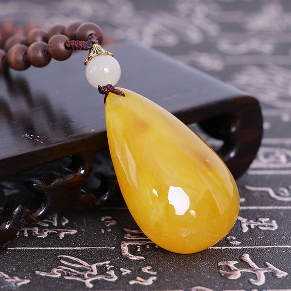 Retro Women Drop Beeswax Pendant Exquisite Wood Beads Necklace