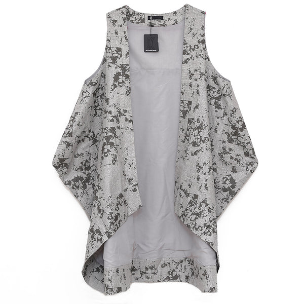 Loose Women Gray Printing Irregular Cardigan Vest Outerwear