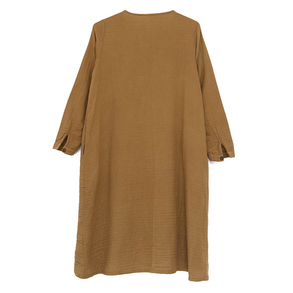 Cotton Women Long Sleeve Single Breasted Irregular Dress - Buykud