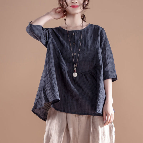 Women Casual 1/2 Sleeve Round Neck Navy Blue Tops - Buykud