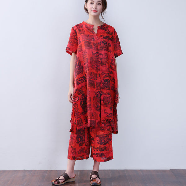 Printing Retro Women Loose Linen Ethnic Summer Red Suits - Buykud