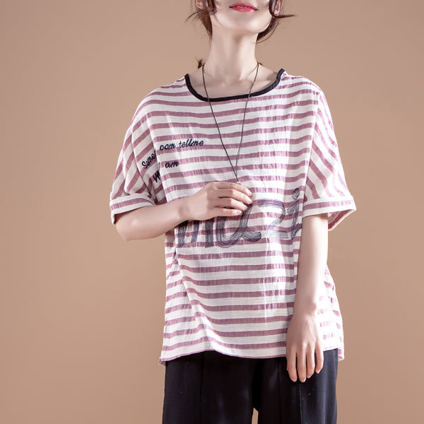 Red Stripe Letter Embroidery Summer Women T-shirt - Buykud