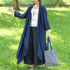 Three Quarter Sleeve Pockets Braid Open-Front Blue Cardigan Coat - Buykud