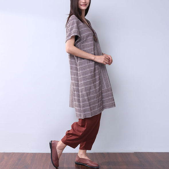 Summer Women Casual Stripe Coffee Dress - Buykud