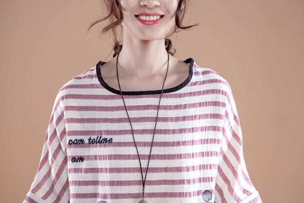 Gray Stripe Letter Embroidery Summer Women T-shirt - Buykud