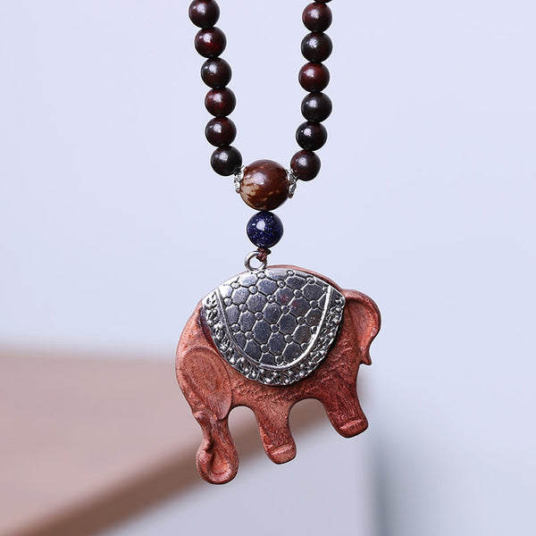 Women Ethnic Vintage Elephant Red Sandalwood Pendant Beads Necklace - Buykud