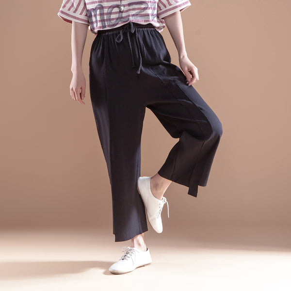 Cotton Linen Casual Women Trousers Lacing Black Pants - Buykud