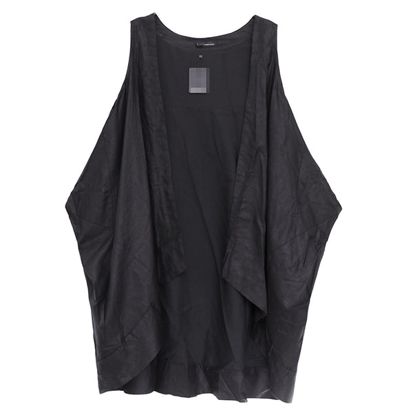Loose Women Black Irregular Cardigan Vest Outerwear