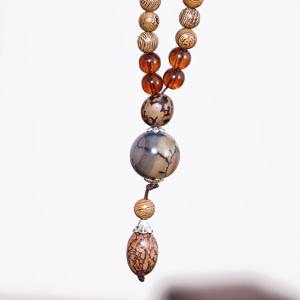 Ethnic Wooden Agate Bead Accessory Necklace