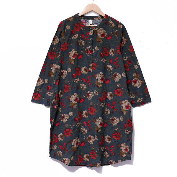 Women Printing Retro Long Sleeve Pockets Buttons Loose Dress - Buykud