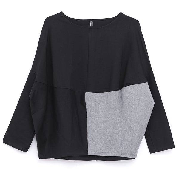 Fall Winter Women Round Neck Long Sleeve Black And Gray Shirt