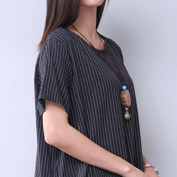 Summer Cotton Women Loose Casual Stripe String Black Dress - Buykud