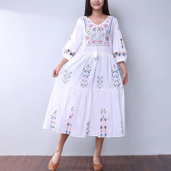 Embroidered Retro Loose Casual Ethnic Splicing Cotton White Dress