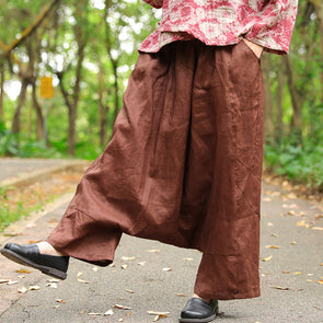 Irregular Linen Ankle Length Brown Women Pants - Buykud