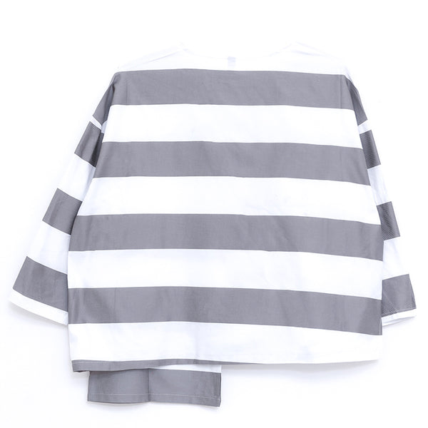 Loose Stripe Women Round Neck Long Sleeve Asymmetric Hem Shirt - Buykud