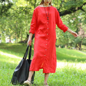 Literature Round Neck Long Sleeves Linen Red Women Dress Two Way Wear - Buykud