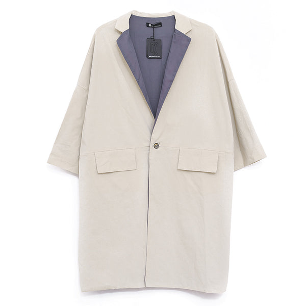 Polo Collar Long Sleeve Loose Women Beige Coat