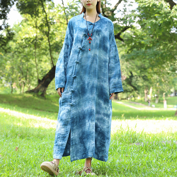 Autumn Long Sleeve Dyeing Cotton Linen Blue Dress For Women - Buykud