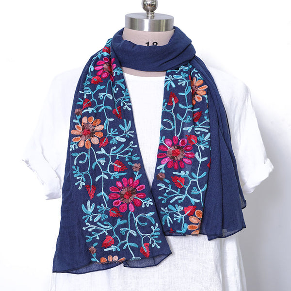Embroidered Literature Women Casual Navy Blue Scarf - Buykud