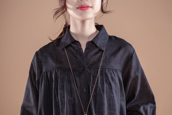 Loose Single Breasted Polo Collar Navy Blue Shirt Dress - Buykud