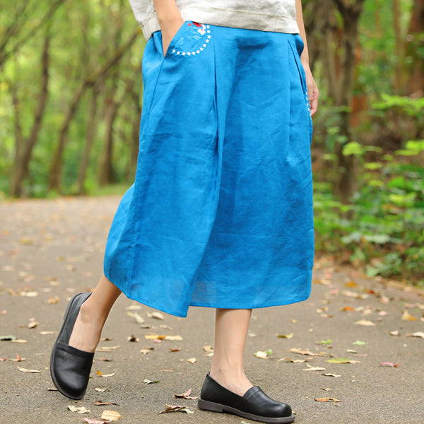 Loose Embroidered Calf Length Blue Women Skirt - Buykud