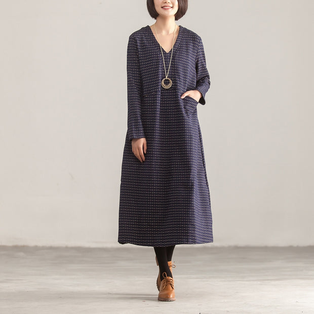 V Neck Long Sleeve Loose Women Printed Blue Dress - Buykud