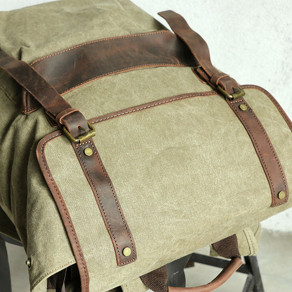 Large Capacity Leather Canvas Khaki Backpack - Buykud