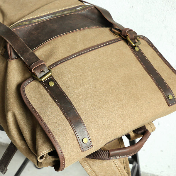 Large Capacity Leather Canvas Coffee Backpack
