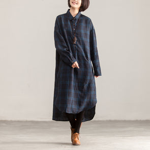 Irregular Polo Collar Long Sleeve Plaid Pullover Dress - Buykud