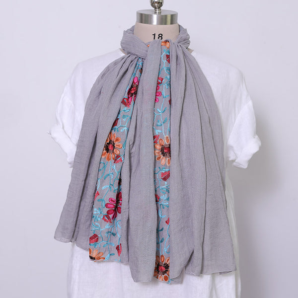 Embroidered Literature Women Casual Gray Scarf - Buykud