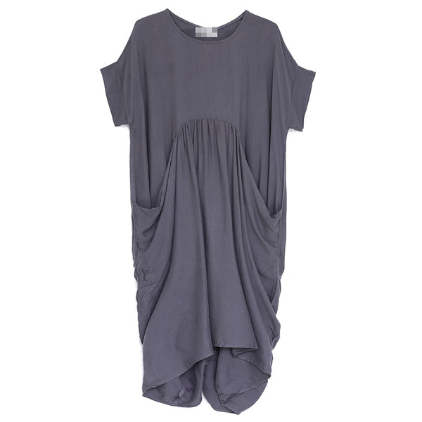Baggy Loose Women Round Neck Short Sleeve Dress