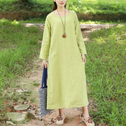 Autumn Loose Long Sleeve Linen Simple Green Dress For Women - Buykud