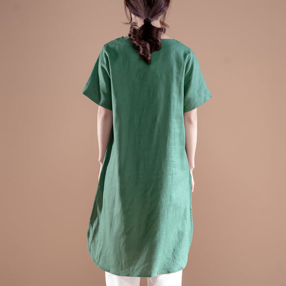 Ethnic Women Short Sleeve Irregular Green Tops - Buykud