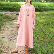 Autumn Loose Long Sleeve Linen Simple Pink Dress For Women - Buykud
