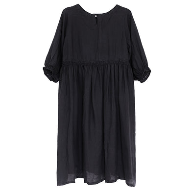 Summer Loose Women Round Neck Short Sleeve Linen Dress - Buykud