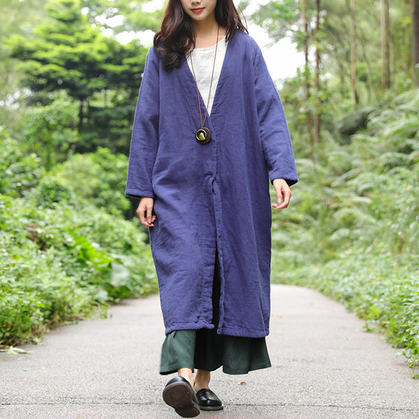 Retro Long Sleeve Snap Buttons Pockets Slit Coat - Buykud
