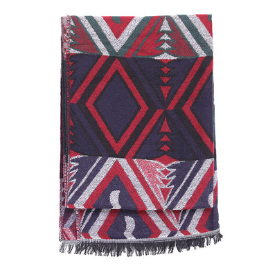 Fall Winter Colorful Tassels Rectangle Keep Warm Scarf - Buykud