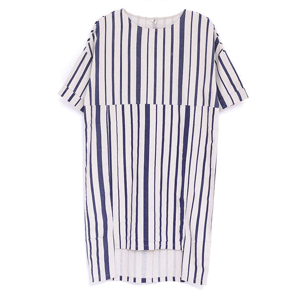 Women Summer Round Neck Short Sleeve Stripe Dress - Buykud