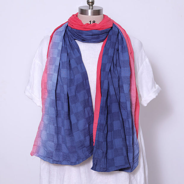 Ethnic Style Women Lattice Blooming Charming Red Scarf - Buykud