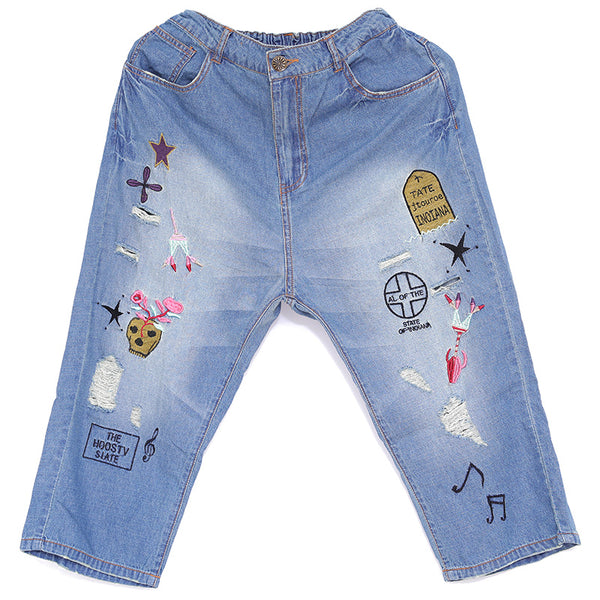 Spring Women Casual Embroidery Denim Pants