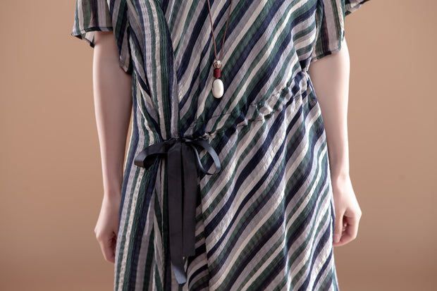 Round Neck Stripe Short Sleeve Lacing Dress - Buykud