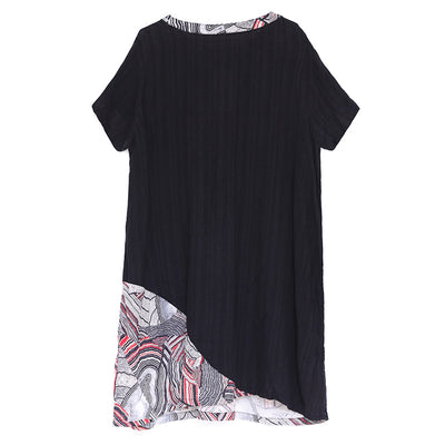 Women Casual Round Neck Short Sleeve Linen Cotton Dress - Buykud