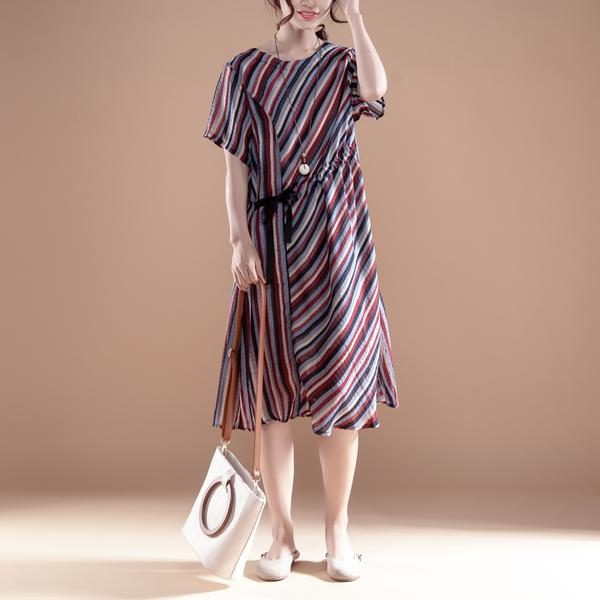 Round Neck Stripe Short Sleeve Lacing Dress