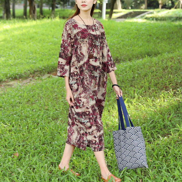 Women Retro Three Quarter Sleeve Pockets Printing Side Slit Dress - Buykud
