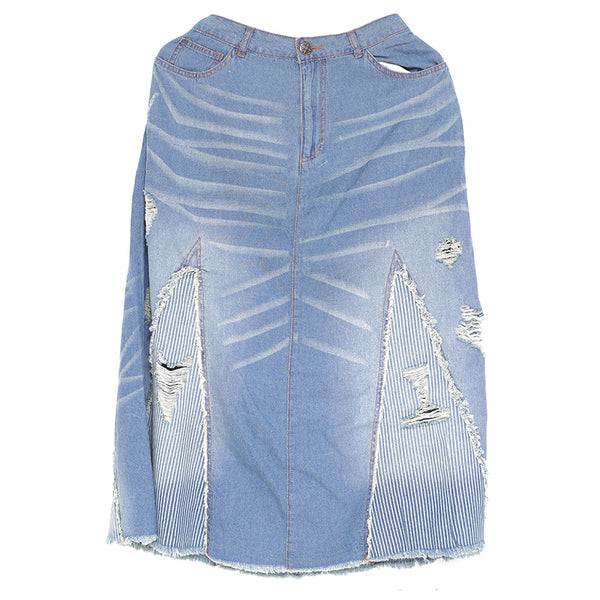 Casual Loose Women Splicing Blue Denim Skirt
