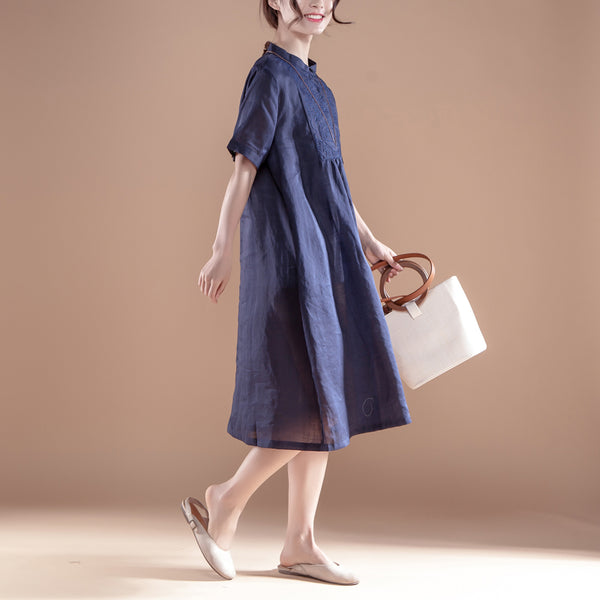 Embroidery Stand Collar Short Sleeve Navy Blue Dress - Buykud