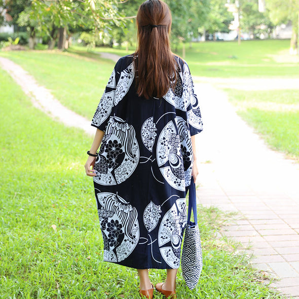 Retro 1/2 Sleeve Pockets Printing Side Slit Frog Dress - Buykud