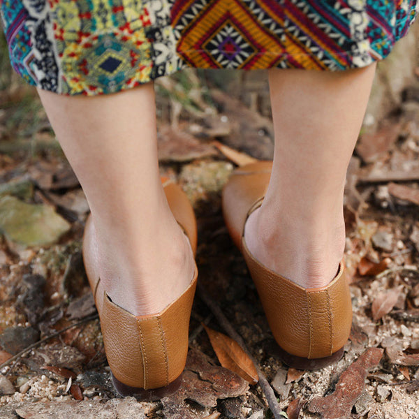 Fashionable Leather Vintage Women Brown Single Shoes - Buykud