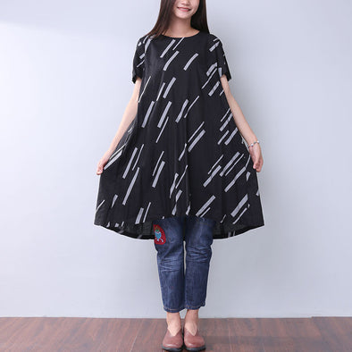 Printing Summer Women Loose Casual Folded Black Dress - Buykud